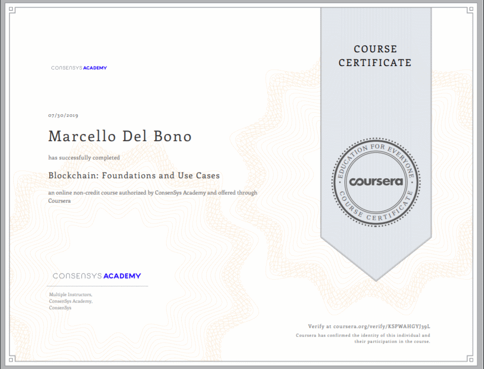 Blockchain Foundation and Use Cases certificate