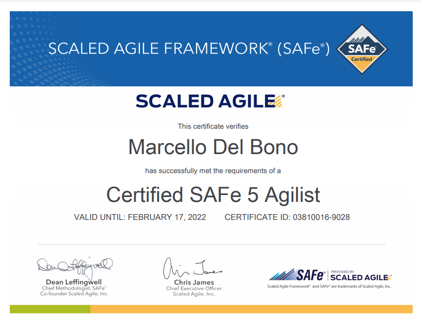SAFE Agilist Certified